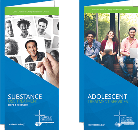 Two brochures on display: substance use treatment and adolescent treatment services.
