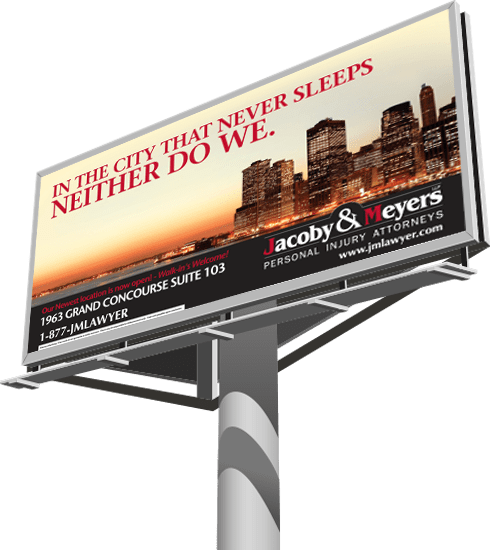 Billboard with text: 'In the city that never sleeps neither do we'