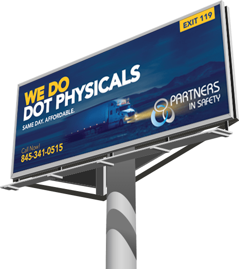 Billboard with text 'We do DOT physicals'