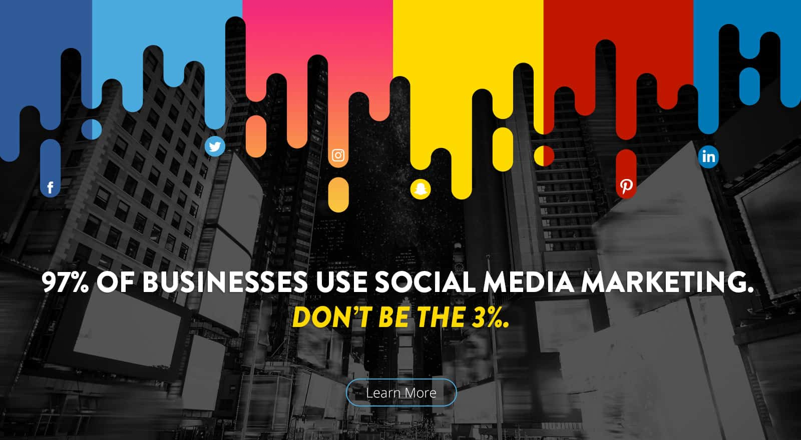 Page link with text: 7% of business use social media marketing don't be the 3%.