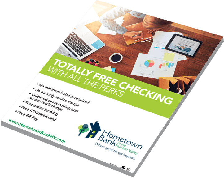 Pamphlet titled 'Totally Free Checking with all the perks'